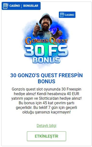 30 GONZO'S QUEST FREESPİN BONUS Slottica casino